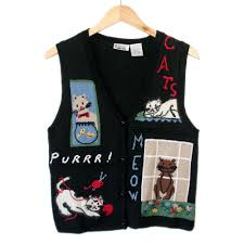 vintage 90s cat lady kitty lover tacky ugly sweater vest the