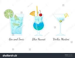 set popular cocktails blue hawaii gin stock vector 485224660