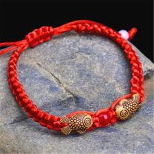 red string bracelet with charm images Feng shui red string lucky wooden twin fish charm bracelet for jpg