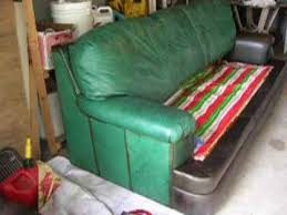 Green Leather Sofa by How I Dyed A Green Leather Sofa Brown Part 2 Youtube