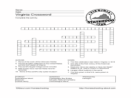 thanksgiving crossword puzzle printable virginia crossword puzzle worksheet 4th 6th grade worksheet