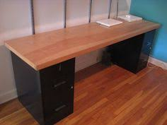 Filing Cabinets Home Office - homemade desk 2 ugly filing cabinets painted navy blue with
