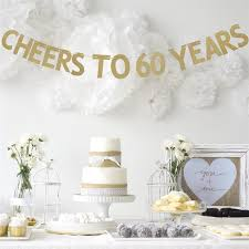 celebrating 60 years birthday 3m 1set gold glitter cheers to 60 years celebration birthday party