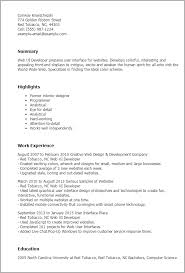 Web Design Resume Template Professional Web Ui Developer Templates To Showcase Your Talent