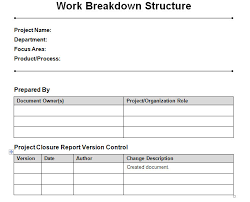 Project Management Wbs Template Excel by Work Breakdown Structure Word Template Work Breakdown Structure
