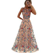flower dress runway women floral embroidery flower dress summer mesh maxi dress