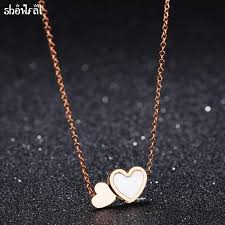 aliexpress love necklace images Stainless steel double heart love necklaces short design rose gold jpg
