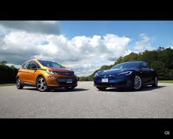 nissan leaf vs chevy bolt 2017 chevrolet bolt beats tesla model s 75d in real world driving