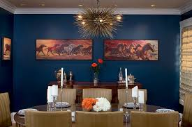 dark blue walls dining room eclectic with white flowers rubbed