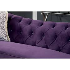furniture of america wellington premium fabric sofa purple