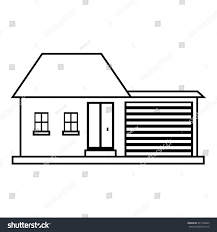small house icon outline illustration house stock illustration