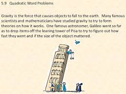 5 9 quadratic word problems working with gravity ppt download