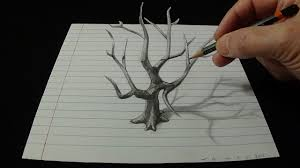 art 3d drawing old tree how to draw 3d tree with pencil