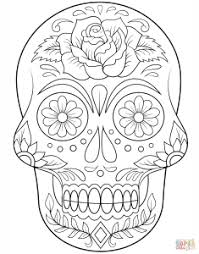 dead flower coloring page sugar skull with flowers images coloring page day of the dead