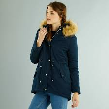 parka with detachable fur lined hood women size 34 to 48 bleu