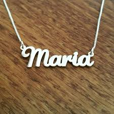 Sterling Silver Nameplate Necklace Maria Style Nameplate Necklace Solid Sterling Silver