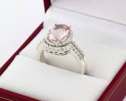 morganite bridal set authentic morganite diamond solid 14k white gold engagement ring