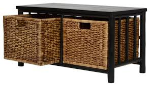 Storage Bench With Baskets Kona Bamboo Storage Bench With 2 Hyacinth Baskets Asian Accent