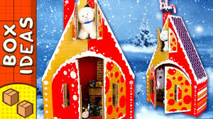 diy cardboard gingerbread house christmas crafts for kids on box