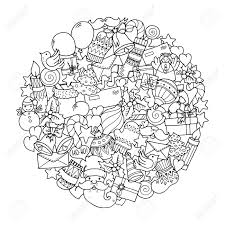 christmas theme doodle mandala with balloons bells sweets