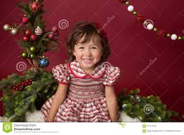 merry christmas setup in red and white dress stock photo