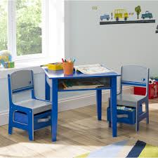cute white folding table and chair set for kids on the cream
