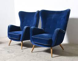 Oversized Lounge Chair Set Of Two Large Oversized Italian Blue Velvet Wing Back Easy