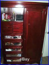 Dark Cherry Armoire Dark Cherry Finish Cherry Wood Glass Drawer Bedroom Display Armoire
