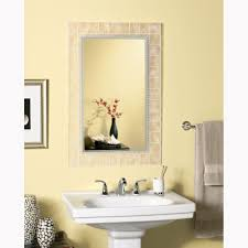 vanity wall mirror large glass block rectangle frosted etched border