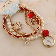 bracelet watches ebay images Exclusive pearl rhinestone hand chain bracelet ladies quartz wrist jpg