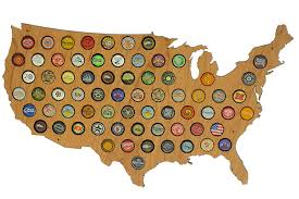 Beer Map Amazon Com Usa Beer Cap Map Glossy Wood Bottle Cap Holder