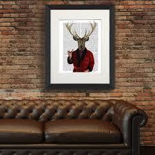 Deer Home Decor by Deer Print Deer In Smoking Jacket By Fabfunky Home Decor