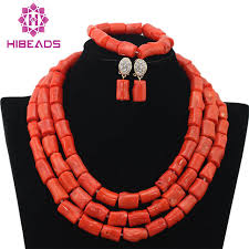 coral bead necklace images Genuine coral beads necklace jewelry nigerian wedding african jpg
