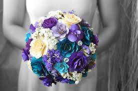 purple and blue wedding wooden wedding bouquets