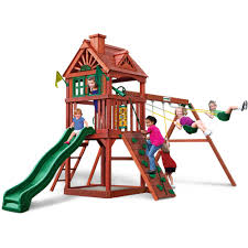 interesting backyard playsets with swing sets and pea gravel