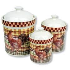 rooster canisters kitchen products 3 country rooster canisters ceramic jars kitchen decor