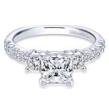 princess cut engagement rings white gold 14k white gold 3 princess cut with european shank