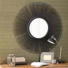 miroir jardin d ulysse miroir rond en métal noir d 92 cm kazembé miroir rond métal