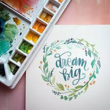watercolor wreath and brush lettering my lettering pinterest