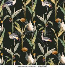 watercolor pattern birds african crowned crane stock illustration