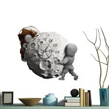 pag sticker 3d wall clock decals moon wall hole sticker home wall