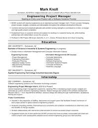 sample resume for an entry level engineering project manager