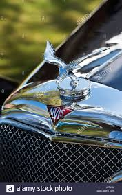 silver eagle ornament on a vintage 1939 alvis motor car at