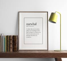 narwhal definition print funny print art art print wall