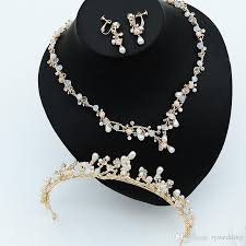 diamond style necklace images New style bridal accessories pearl crystal rose gold necklace jpg