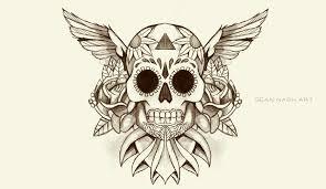 winged sugar skull design