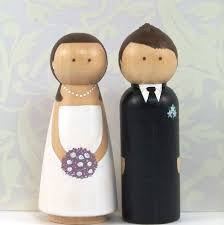 custom wooden peg doll cake toppers hand painted with 3 d hair