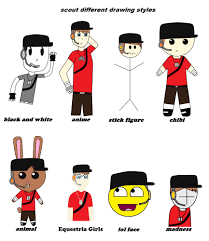 Team Fortress 2 Memes - different cartoon drawing styles different drawing styles team