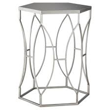 Silver Accent Table Metal Accent Table Iron Wood Within Metal Accent Table