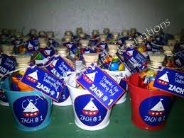 Nautical Themed Giveaways - nautical theme pail with bear and bottle with choco bits souvenir